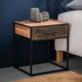 Industrieel nachtkastje oud hout 1 lade
