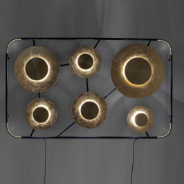 Grote design wandlamp met goud
