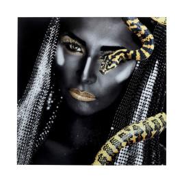 Glas schilderij zwart-wit met slang