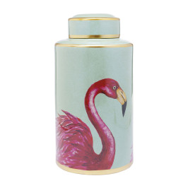 Deco opbergpot flamingos 39 cm