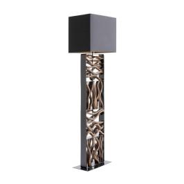 Zwarte vloerlamp met hout