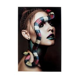 Glas schilderij portret met slang