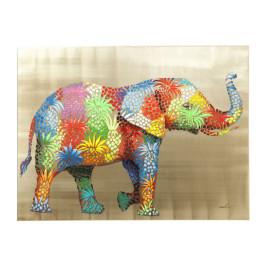 Wanddecoratie van kleurrijke olifant
