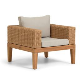 Loungeset stoel riet met hout