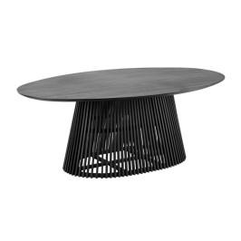 Ovale tafel van zwart hout