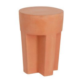 Terracotta bijzettafel rond