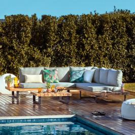 Stoere loungeset van hout