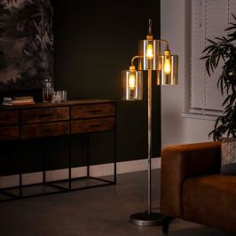 Metalen vloerlamp met amberglas