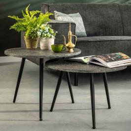 Set van 2 grijze salontafels