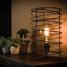 Spiraal tafellamp zwart staaldraad