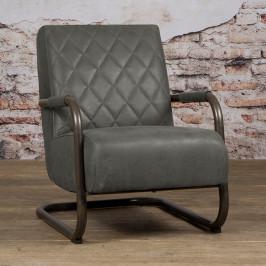 Ecoleer fauteuil met ruitstiksel