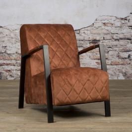 Fluwelen fauteuil met ruit
