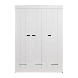 Witte kledingkast 3-deurs met lades