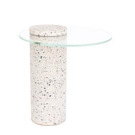 Terrazzo bijzettafel met glas