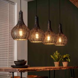 Zwart-bruine hanglamp kegelvorm