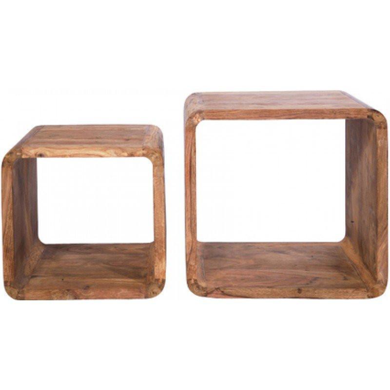 bijzettafel hout authentico cube. Black Bedroom Furniture Sets. Home Design Ideas