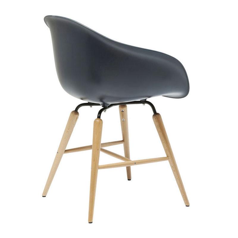 kare design forum grijze kuipstoel op houten frame lumz