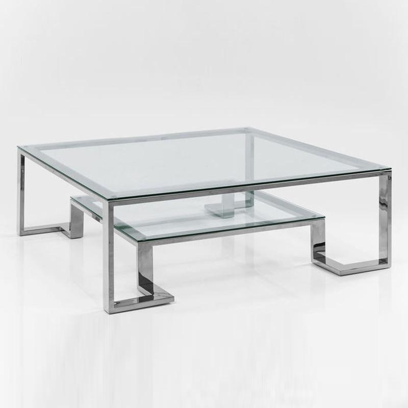 Salon Tafel Glas Metaal.Glazen Design Salontafel