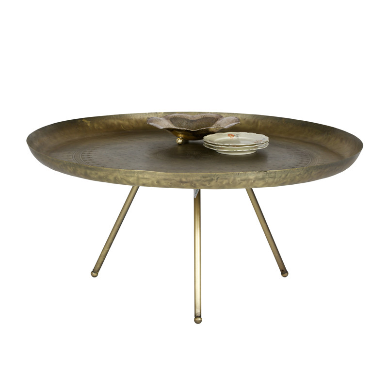 Cool messing salontafel rond woood layla with salon tafel for Salon tafel rond